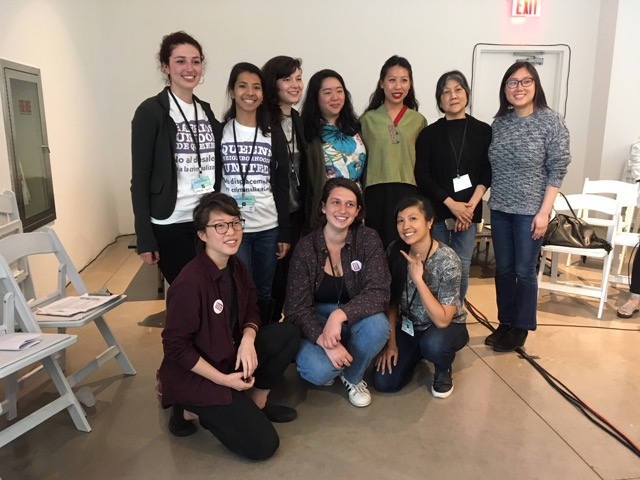 2018 Open Engagement panel, Centering Community Voices, organized by Melissa Lui, with members of the WOW project, Chinatown Art Brigade, Hate Free Zone and Queens Neighborhood United.