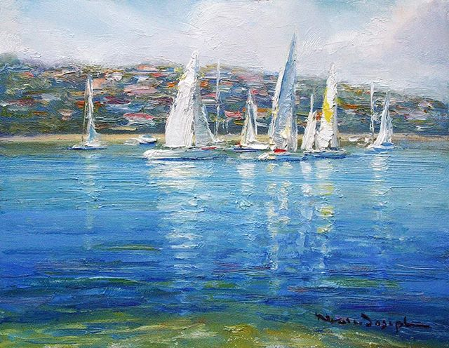 SAILING - MIDDLE HARBOUR Oil on Board // 37 x 29cm www.nealejoseph.com . . . #artistsoninstagram #sailing #sails #sail #boat #boats #sydney #middleharbour #nealejoseph #pleinair #oil #oilpainting #oilonboard #palette #harbour #fineart #collectableart #art #artist #artgallery #painting