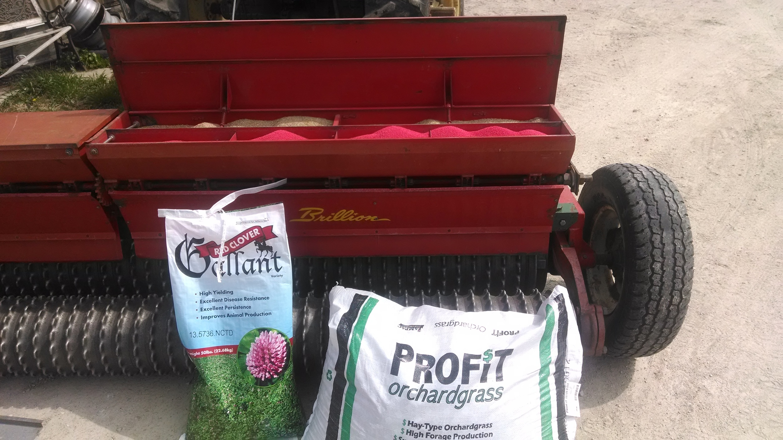 Gallant Red Clover and Profit Orchardgrass ready to be planted.