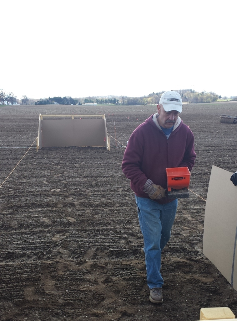 The first day we seeded with optimal weather conditions - cold and windy.