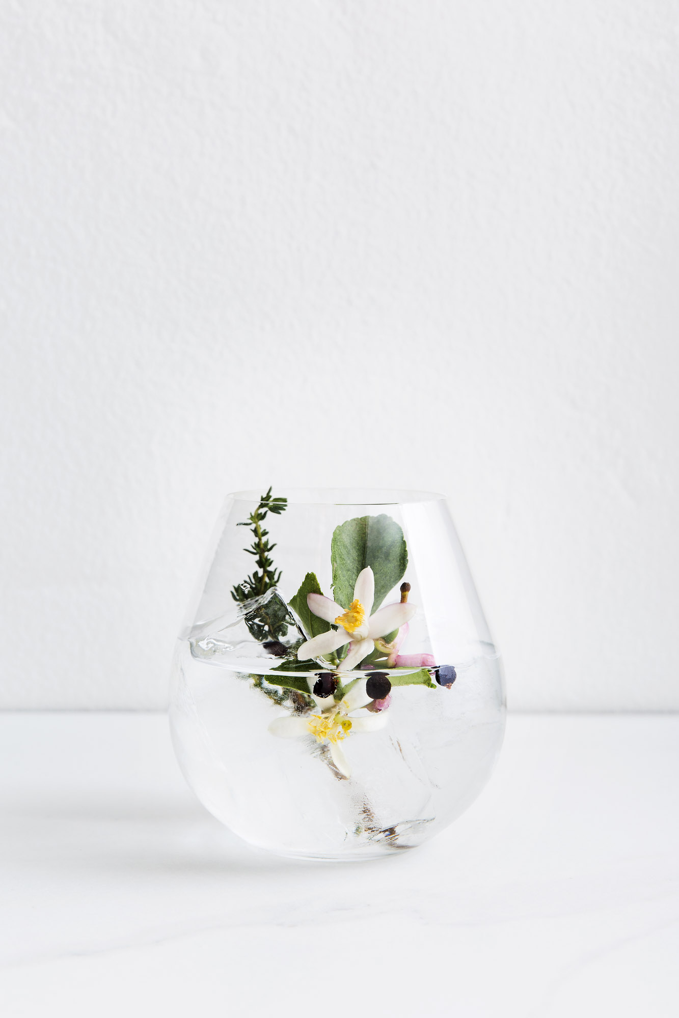 CALIFORNIA GIN & TONIC   1 1/2 oz Gin  1/2 oz Chareau  Tonic Water  Pour Gin and Chareau over ice. Top with tonic and your choice of fresh herbs, citrus, and fruit.  (Thyme, Lemon Blossoms, and Juniper Berries shown)