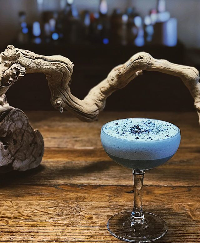 "Ryan Parsons - ""Uncle Owen (and Aunt Beru!)"" : A dedication to Star Wars, this meringue cocktail mixes Hayman's Old Tom Gin, Bitter Truth Pink Gin, Bitter Truth Violet, Luxardo Maraschino, Chareau Spirit, Butterfly Pea Syrup, and Egg Meringue."