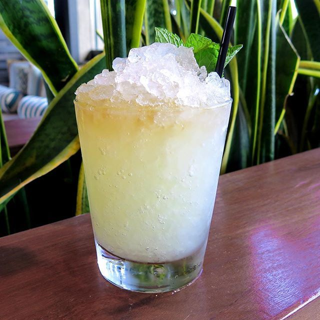 "Andrew Paniagua - ""CASTAWAY"": 2 year light rum, fresh lime juice, pineapple, @hareauspirit aloe liqueur and peach bitters swizzled with crushed ice... 8 year rum float"