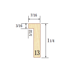 """Profile 13  7/16 x 1-1/4"""" One of our premier mouldings. Profile 13 has a depth and narrow face that usually only metal can achieve."""