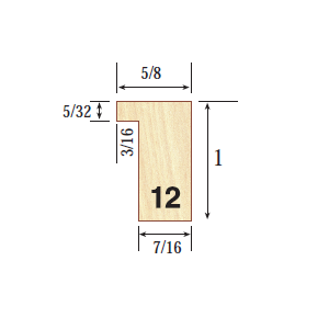 """Profile 12  5/8 x 1"""" Profile 12 is our utility moulding, which is great for accommodating all types of 2 dimensional artwork ranging in a wide variety of sizes"""