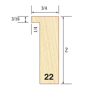 """Profile 22    3/4 x 2"""" For those who are looking to frame their larger pieces, profile 22 is designed to support artwork with greater depth as well as provide the option of utilizing a recess fit with spacers (aka shadowbox)."""