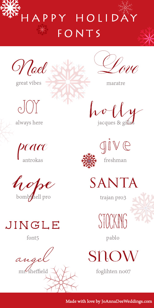 12 Holiday Fonts   JoAnna Dee Weddings