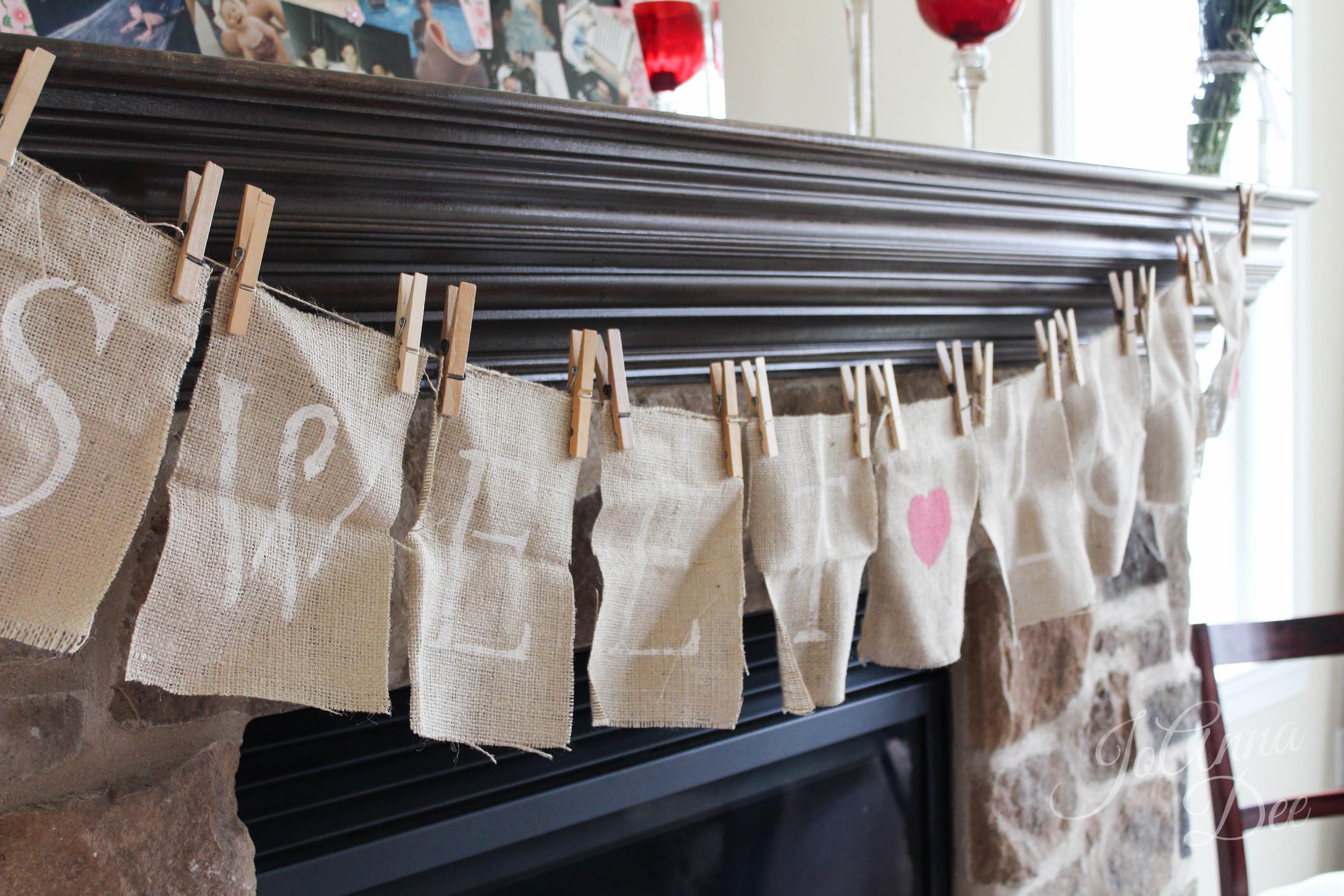 Sweet Love Burlap Bridal Shower Banner | JoAnna Dee Weddings