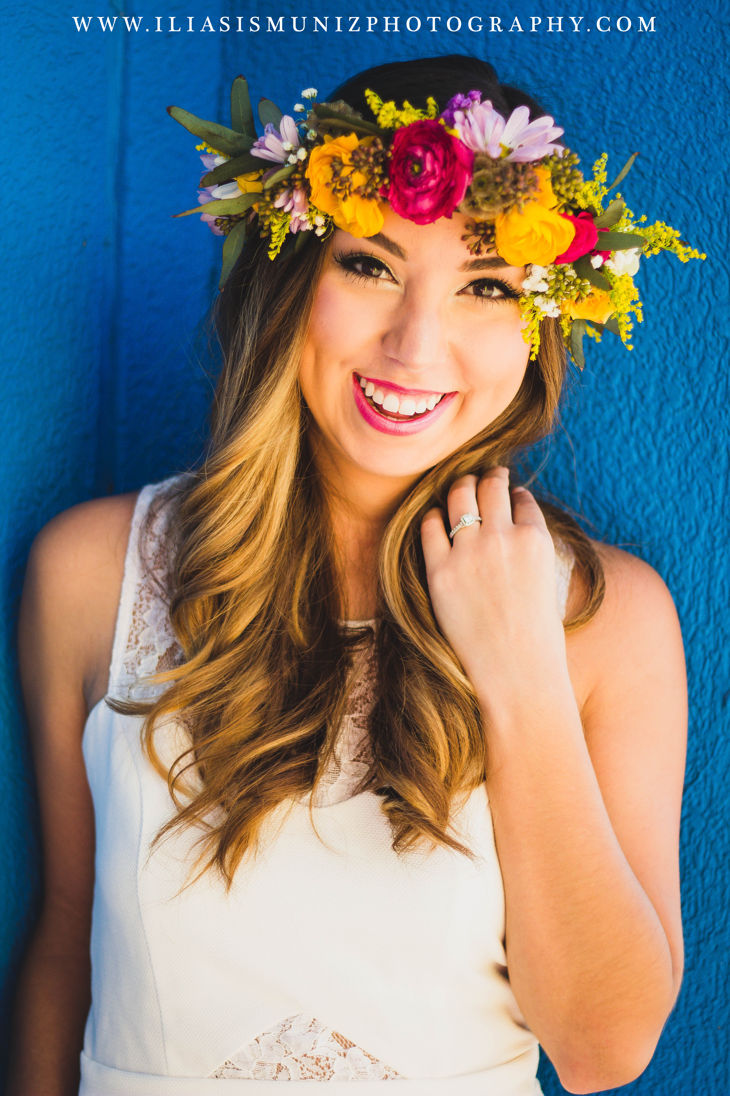 Bright Floral Crown | South Padre Island Engagement Photo Shoot