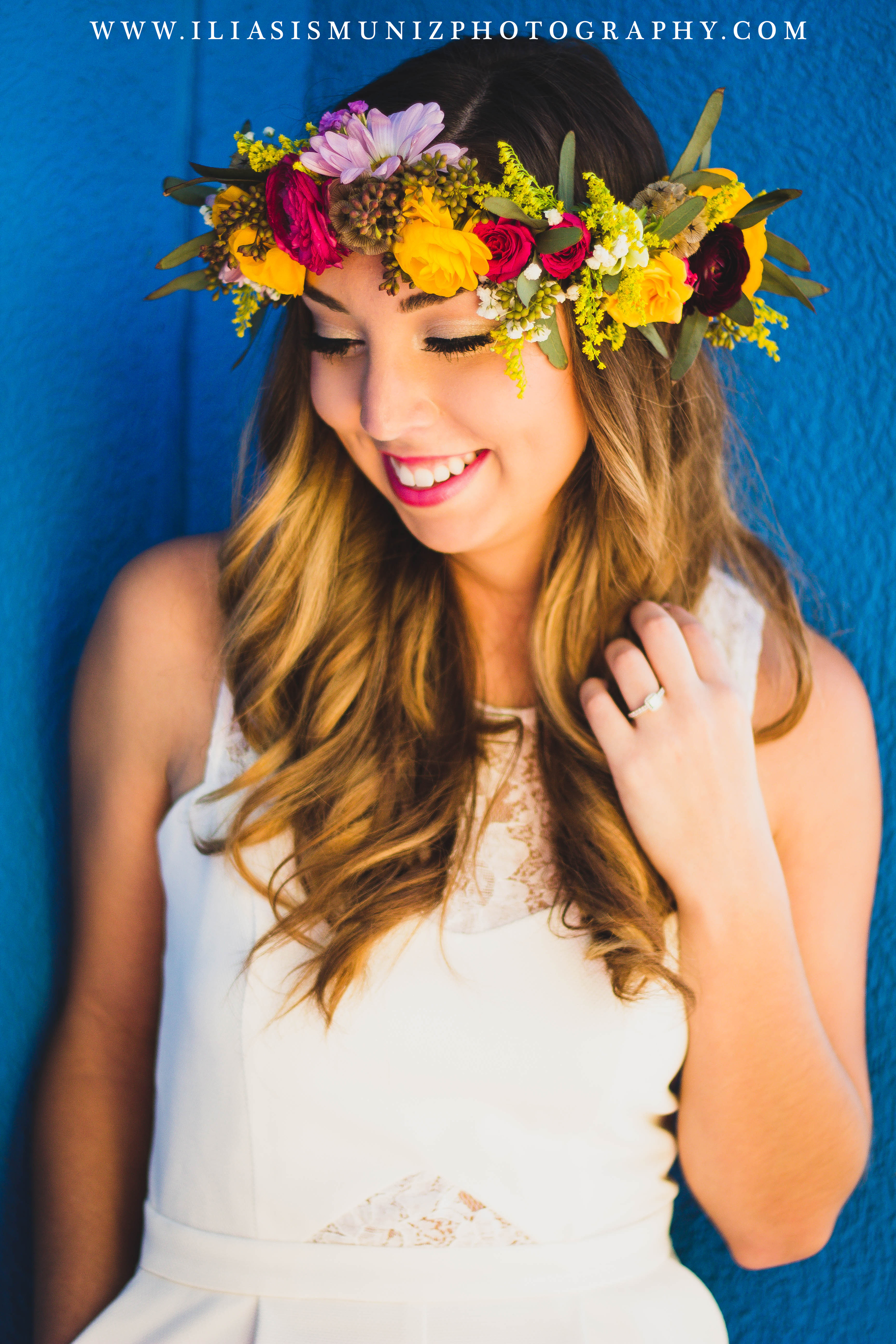 Bright Floral Crown | South Padre Island Engagement Shoot