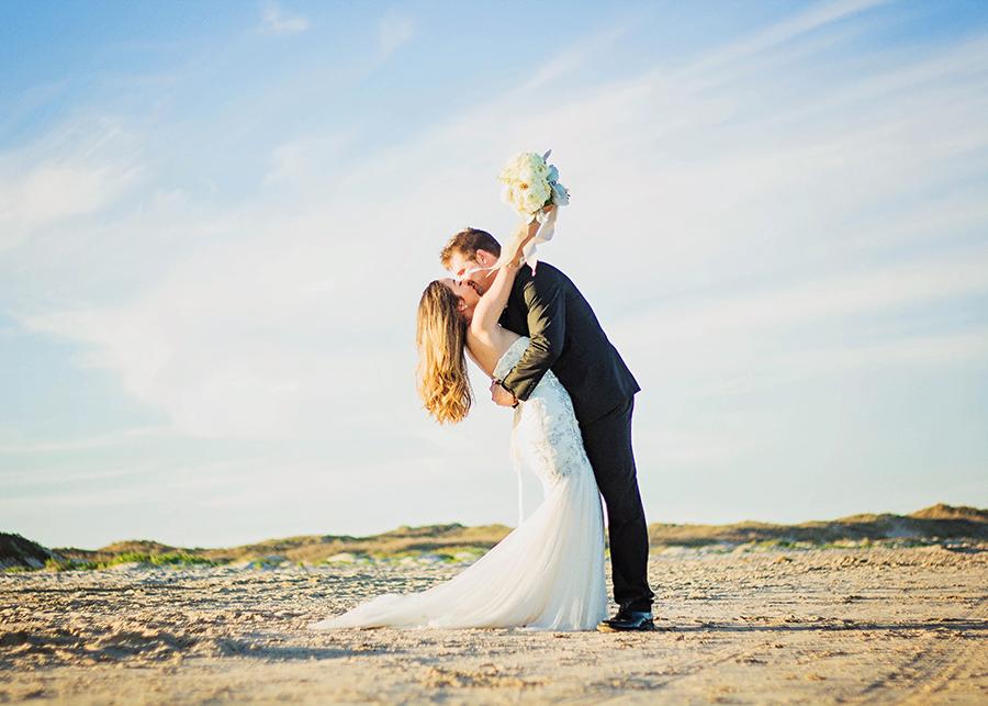 Dip Kiss on the Beach | South Padre Island Weddings | JoAnna Dee Weddings