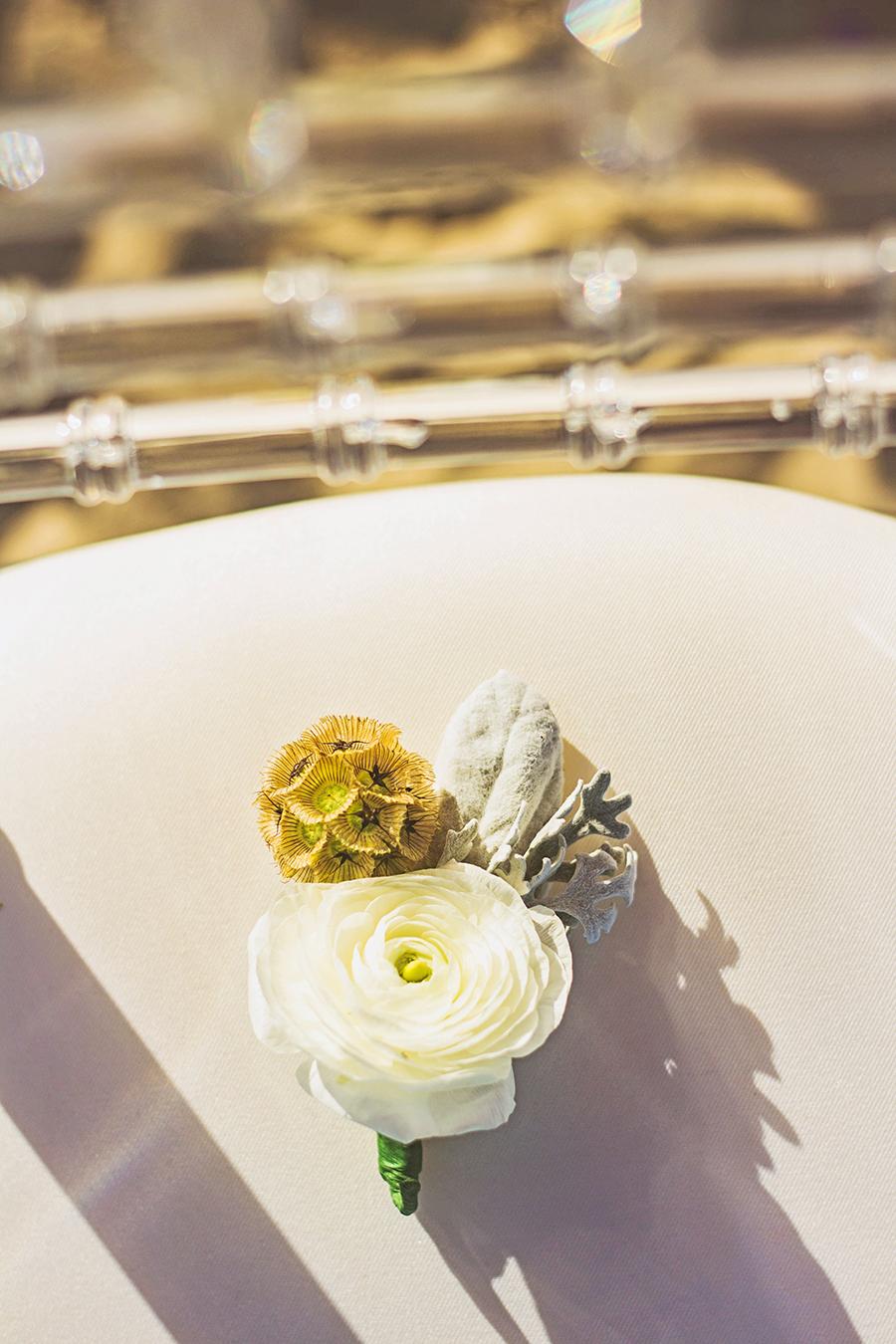 White Boutineer | South Padre Island Wedding | JoAnna Dee Weddings