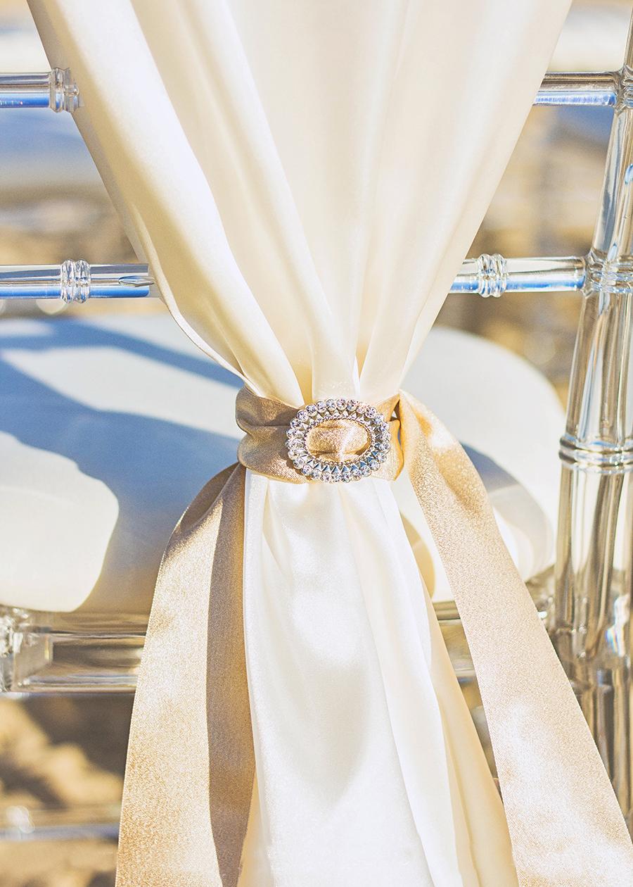 Bling Chair Tie Back | South Padre Island Wedding | JoAnna Dee Weddings