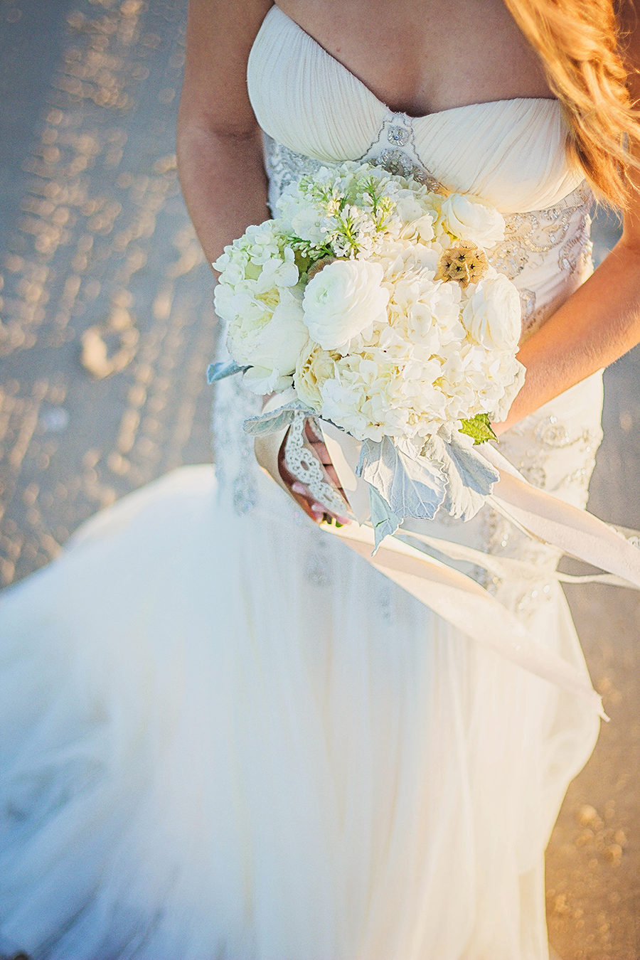White bouquet with ribbon in the wind | South Padre Island Wedding