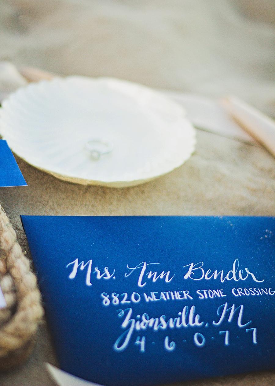 Navy Calligraphy Envelopes | Beach Wedding