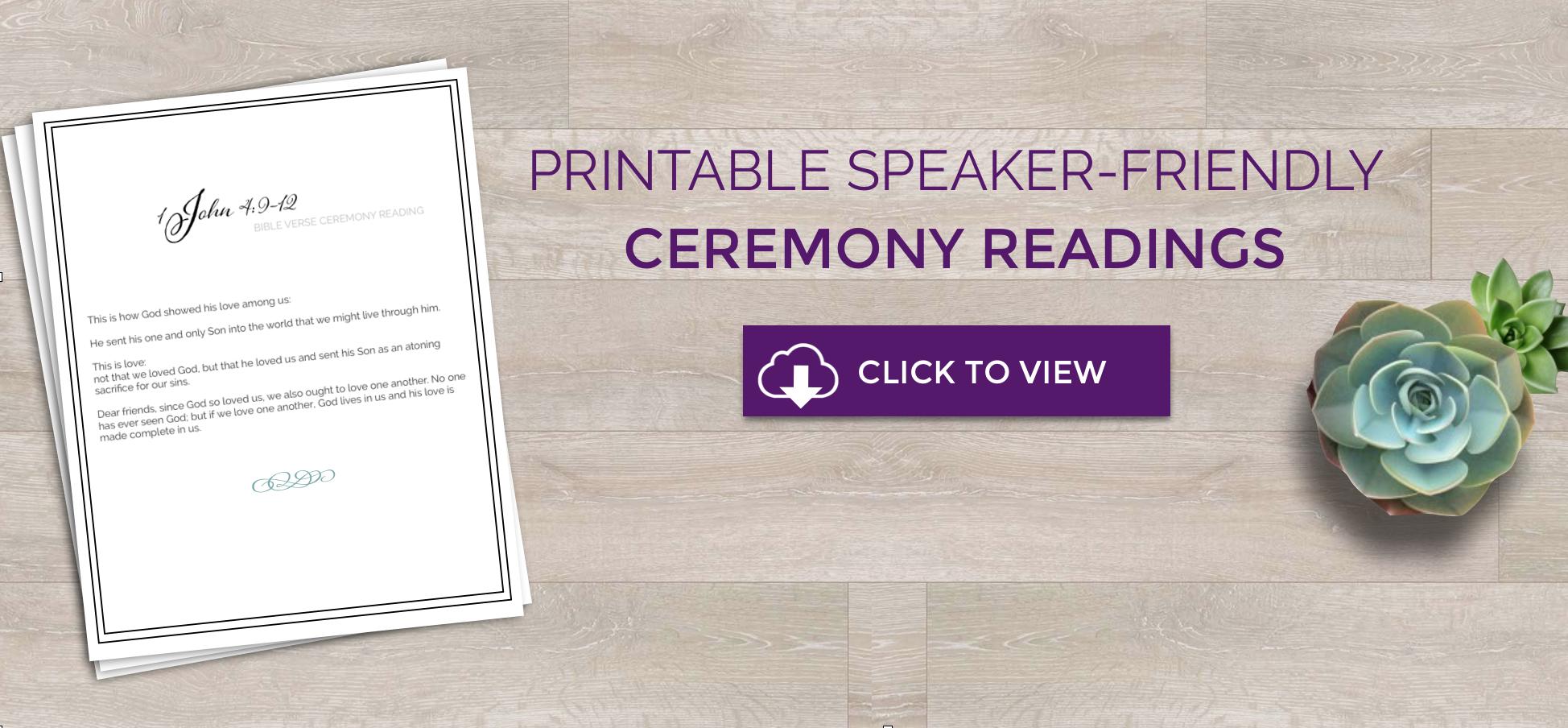Speaker Friendly Wedding Ceremony Readings