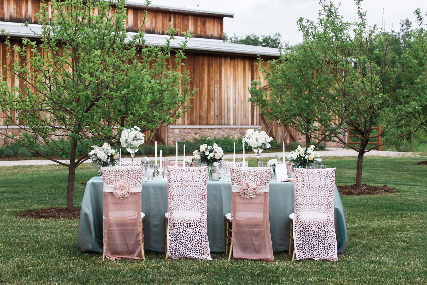 Blush Luxury Chair Covers- Rose Details