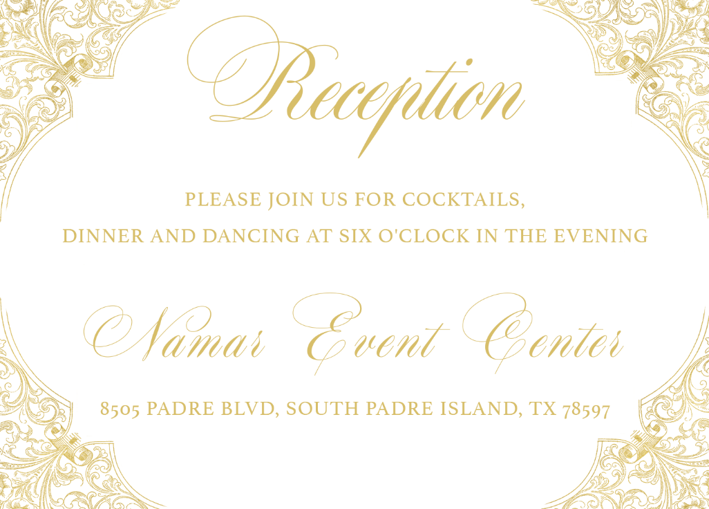 Gold Foil Reception Card | Wedding Stationery