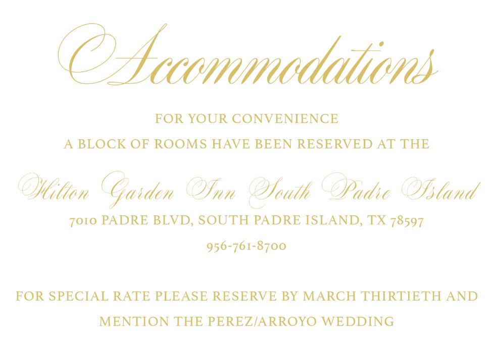 Accommodations Card | Wedding Stationery