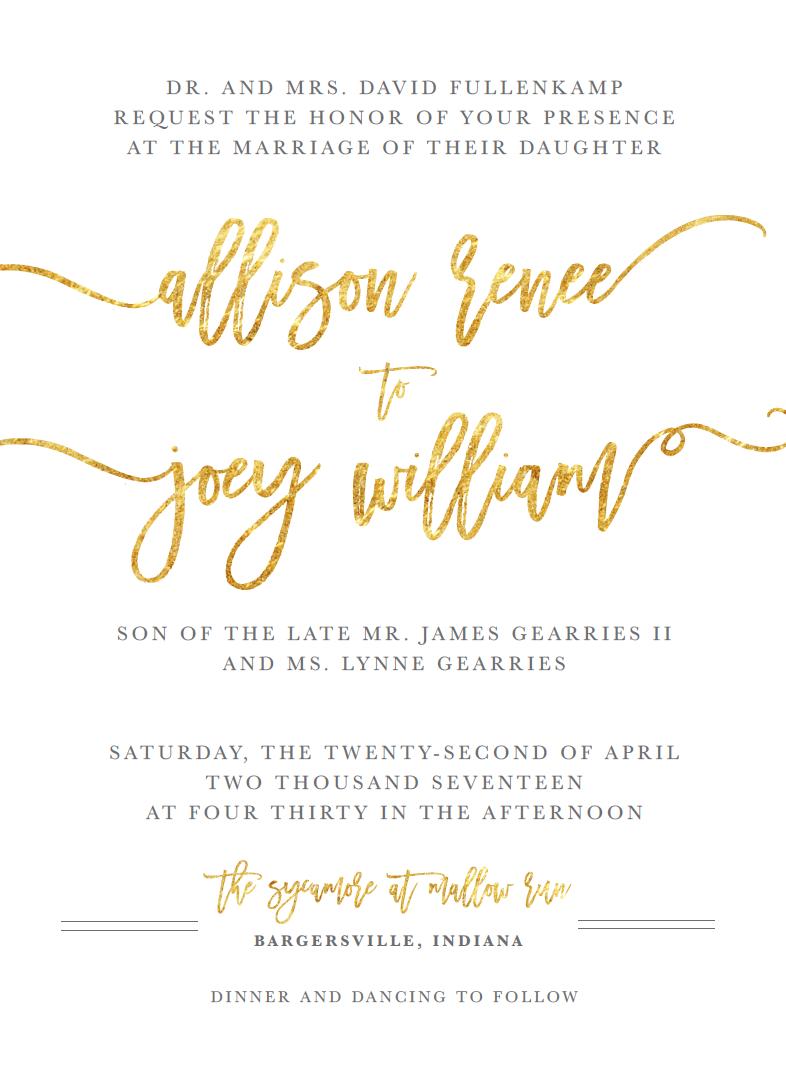 Gold Foil Wedding Invitation | Wedding Stationery
