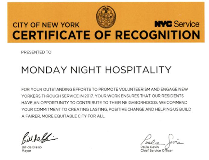 MNH RECEIVES NYC SERVICE AWARD -
