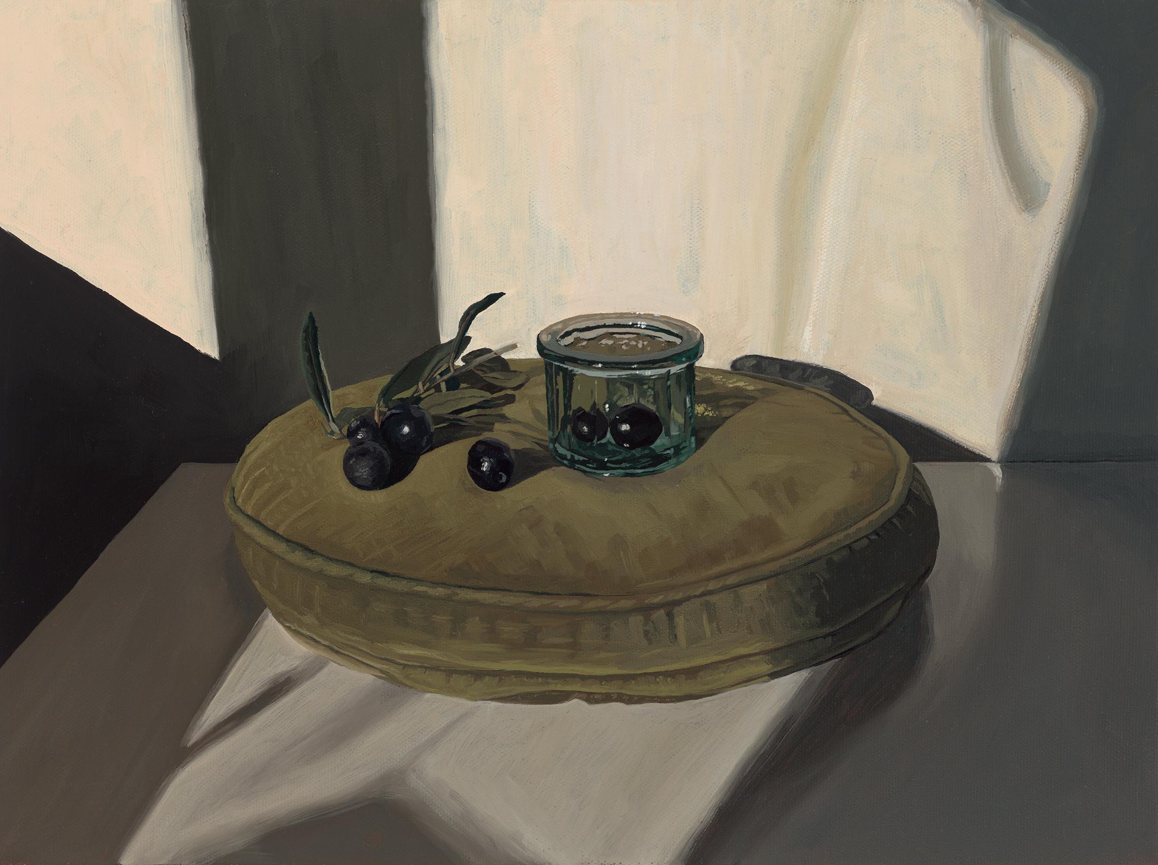 Black Olives, Glass and Velvet Cushion (2019)