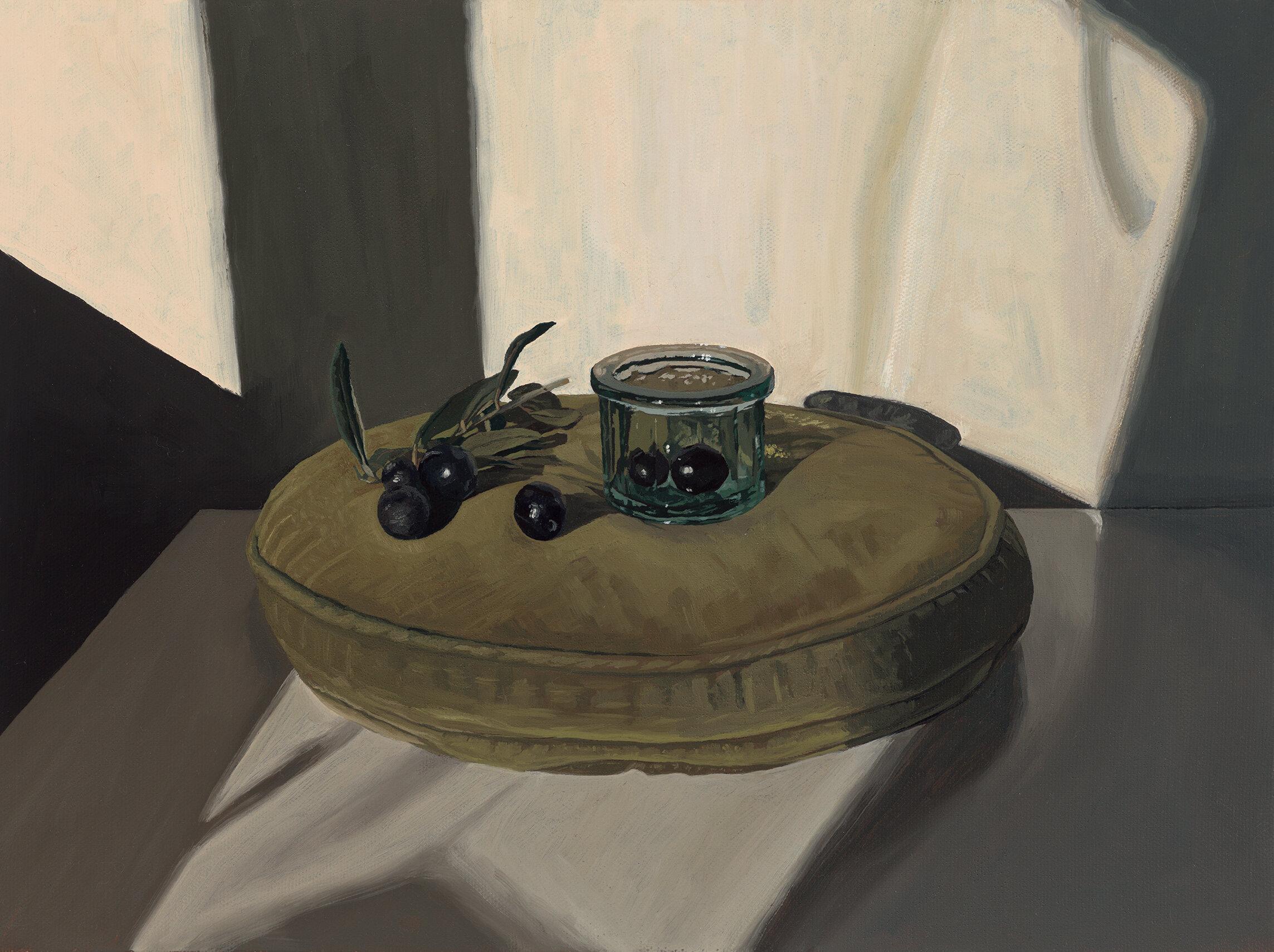 2. Black Olives and Glass on Velvet Cushion.jpg