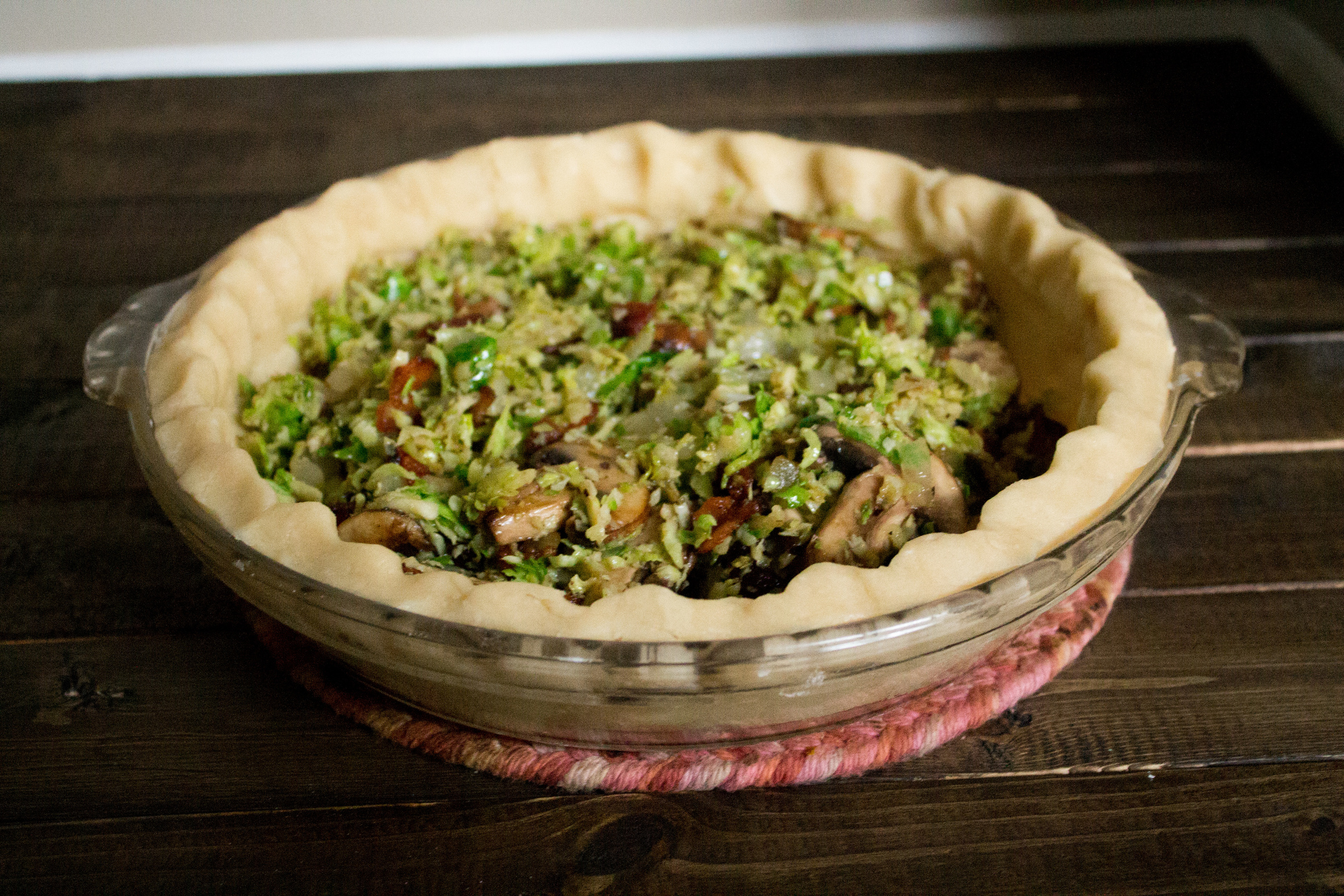 Mushroom Bacon and Brussels Sprout Quiche {Pedantic Foodie}