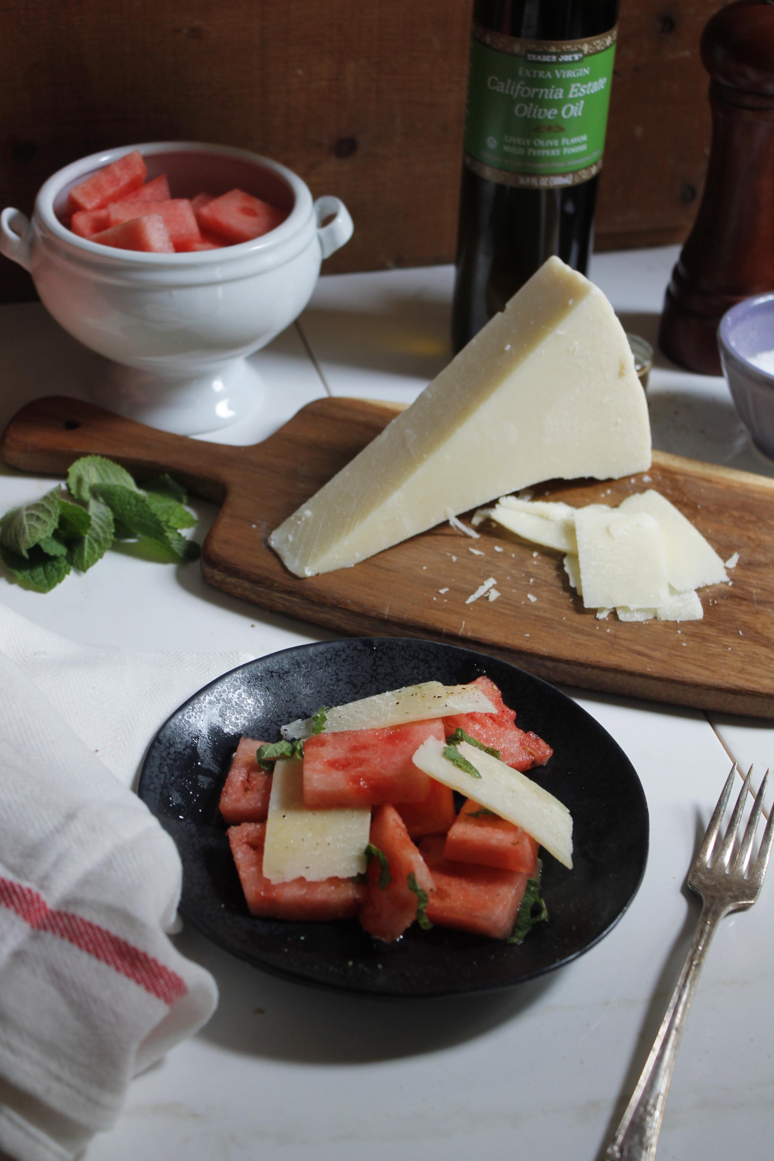 Watermelon & Pecorino Romano Salad {Pedantic Foodie}
