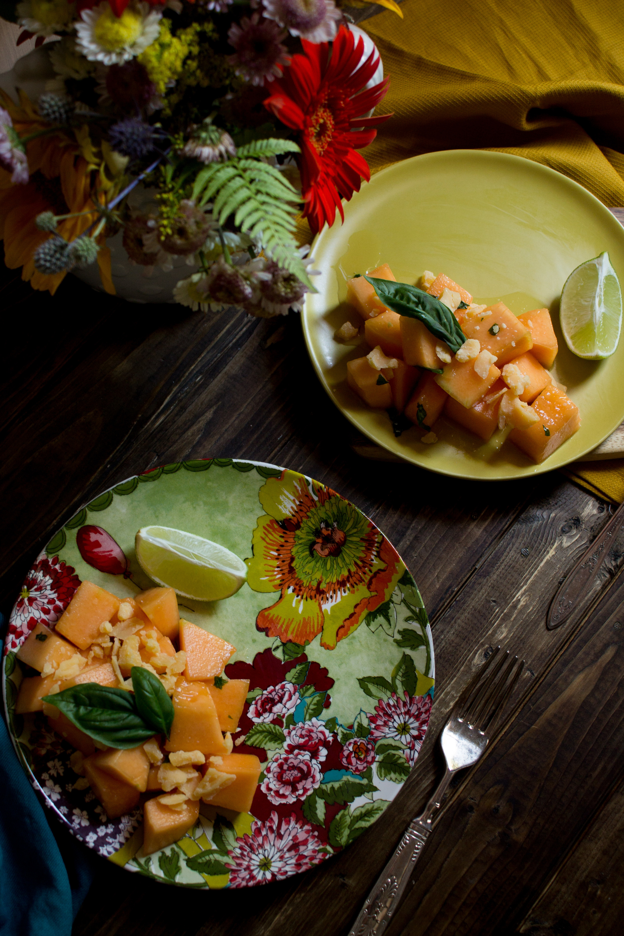 Muskmelon Salad with Aged Gouda {Pedantic Foodie}