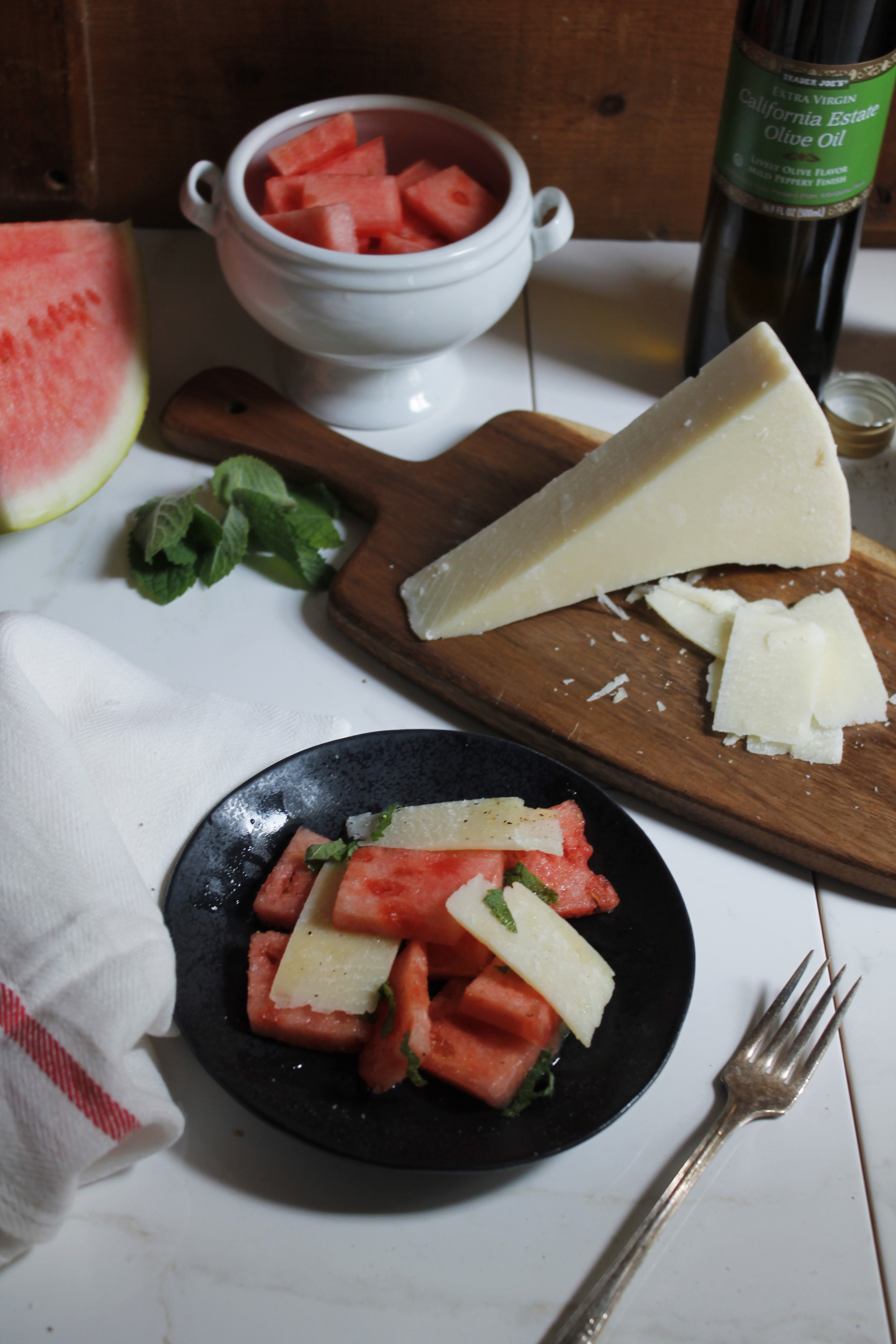 Watermelon and Romano Salad {Pedantic Foodie}