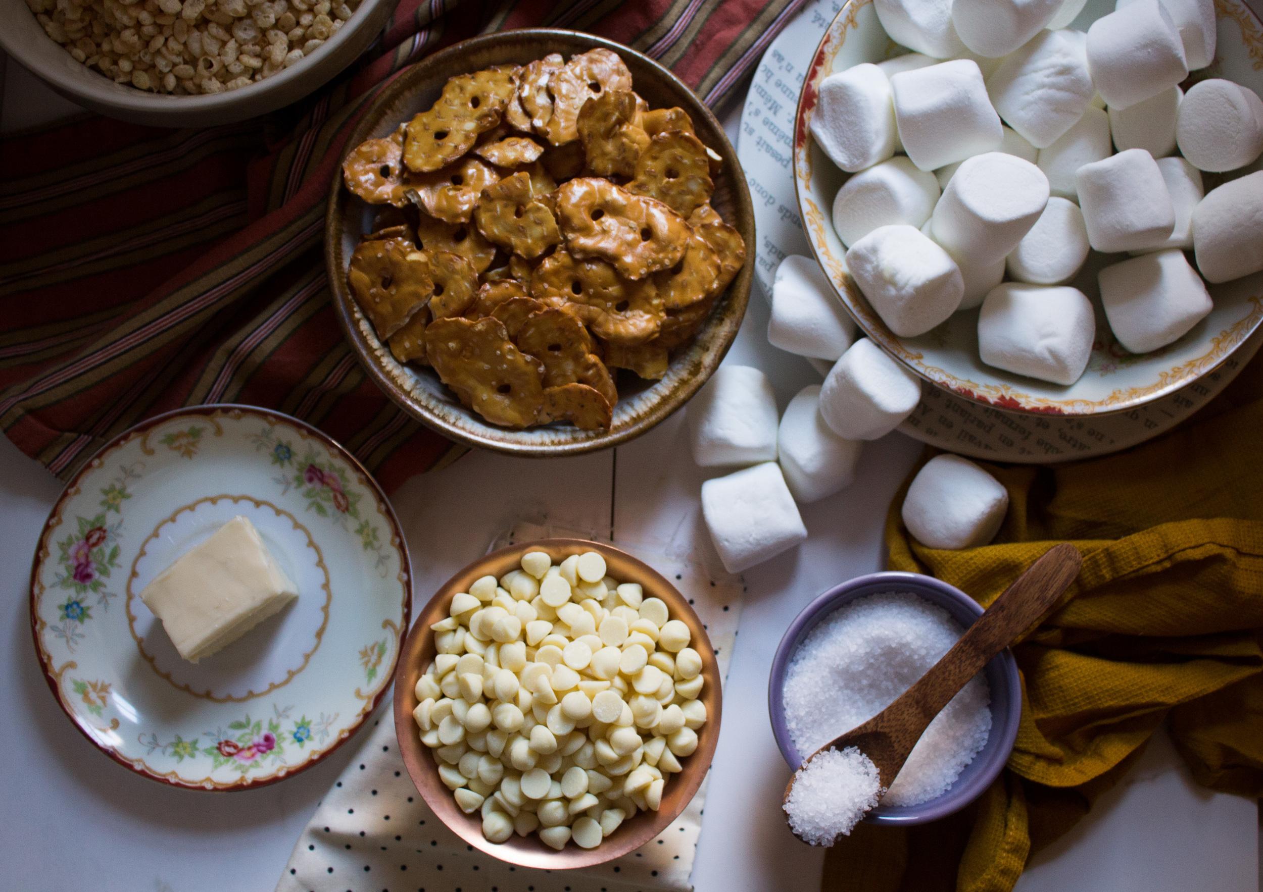 White Chocolate, Sea Salt & Pretzel Krispie Treats {Pedantic Foodie}