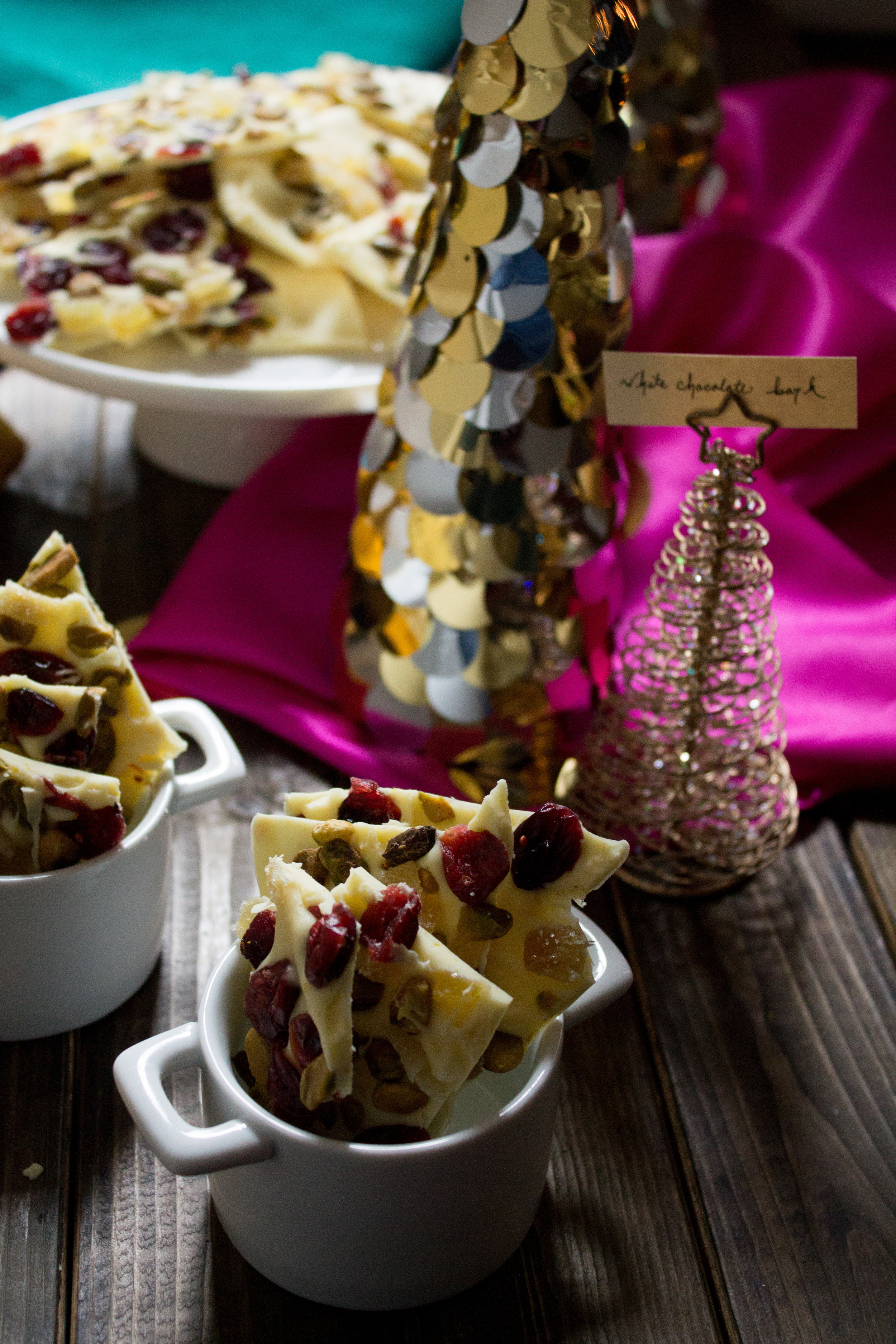 White Chocolate & Orange Bark with Cranberries, Ginger, and Pistachios