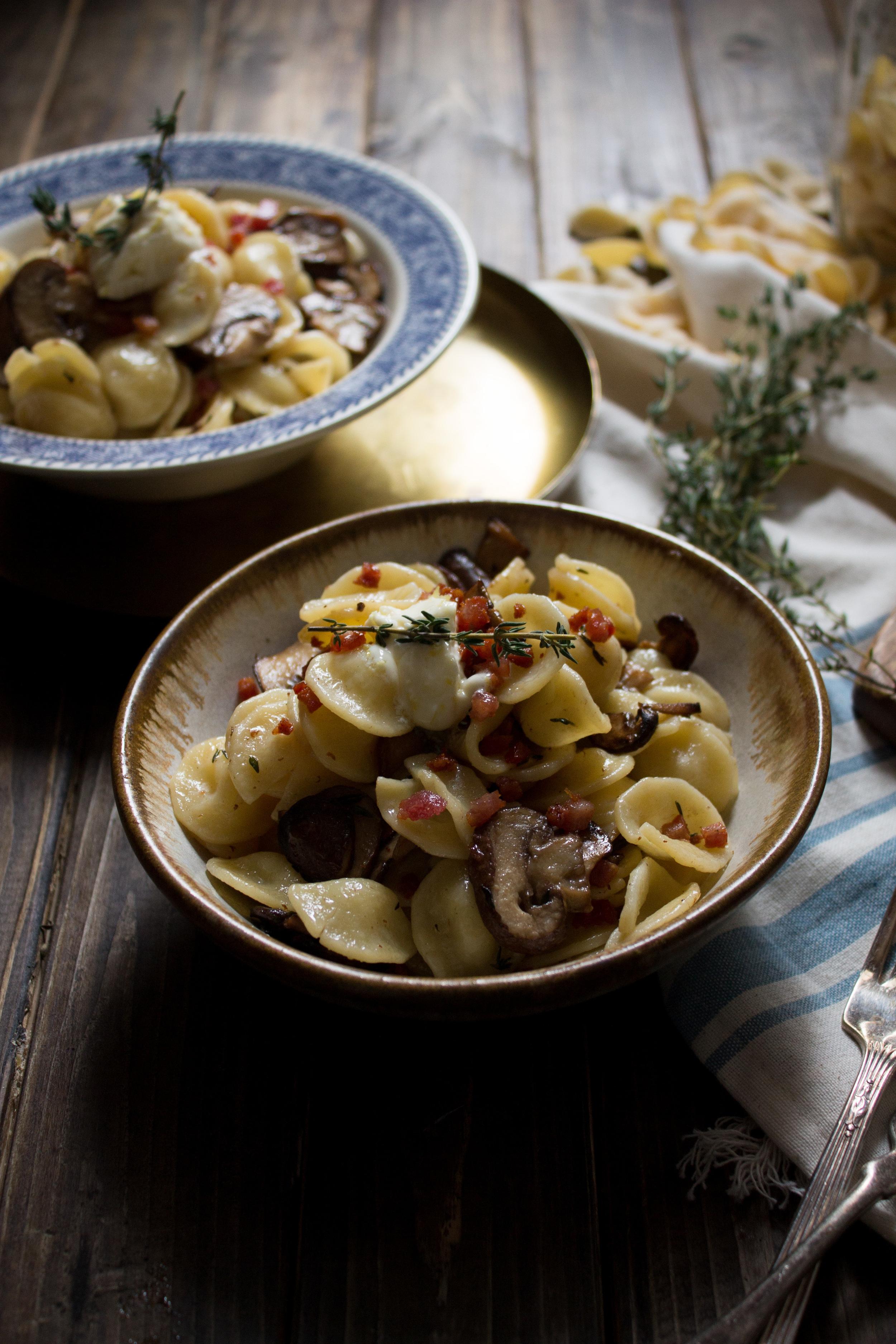 Mushroom & Thyme Pasta with Lemon Butter {Pedantic Foodie}