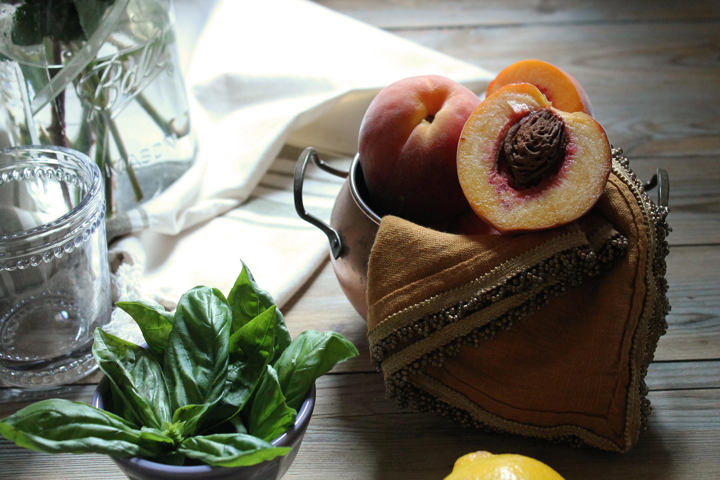Peach and Basil Spritzer {Pedantic Foodie}