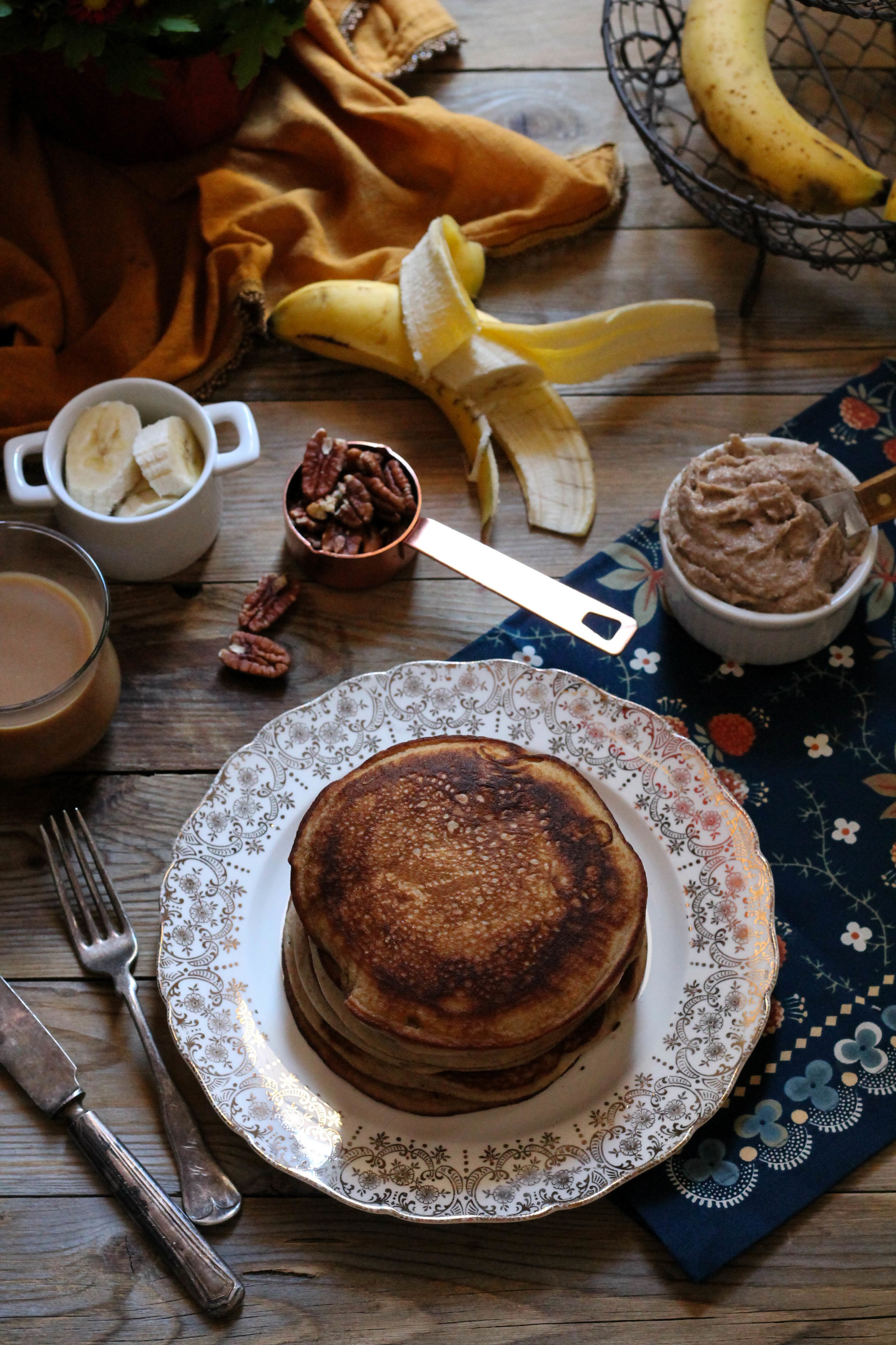 Easy Banana Bread Pancakes with Pecan Butter {Pedantic Foodie}