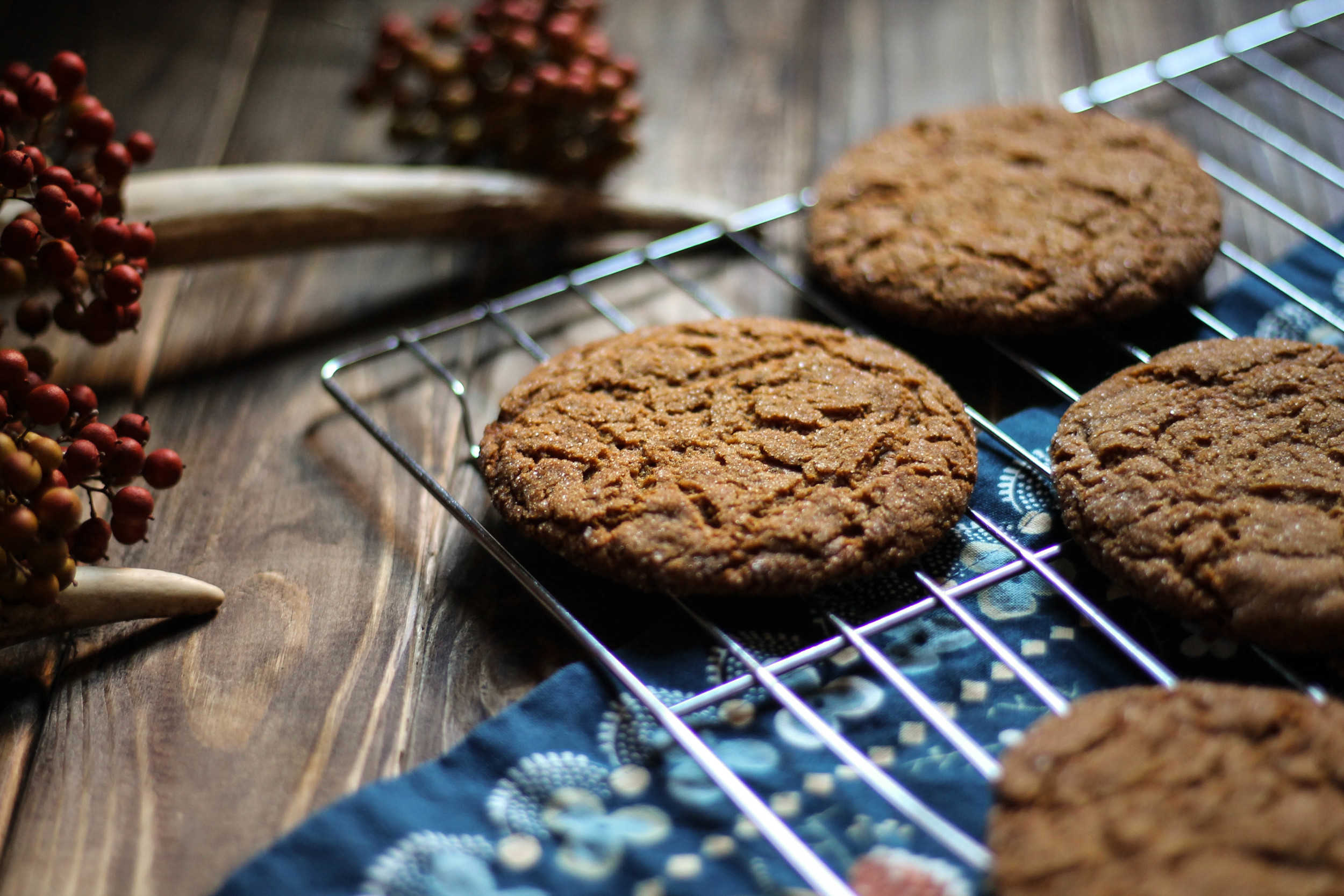 Chewy Molasses Cookies with Apple Cider Caramel {Pedantic Foodie}