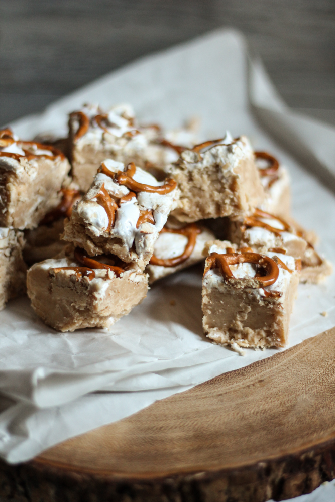 Peanut Butter Fudge with Homemade Marshmallow Fluff & Pretzels {Pedantic Foodie}