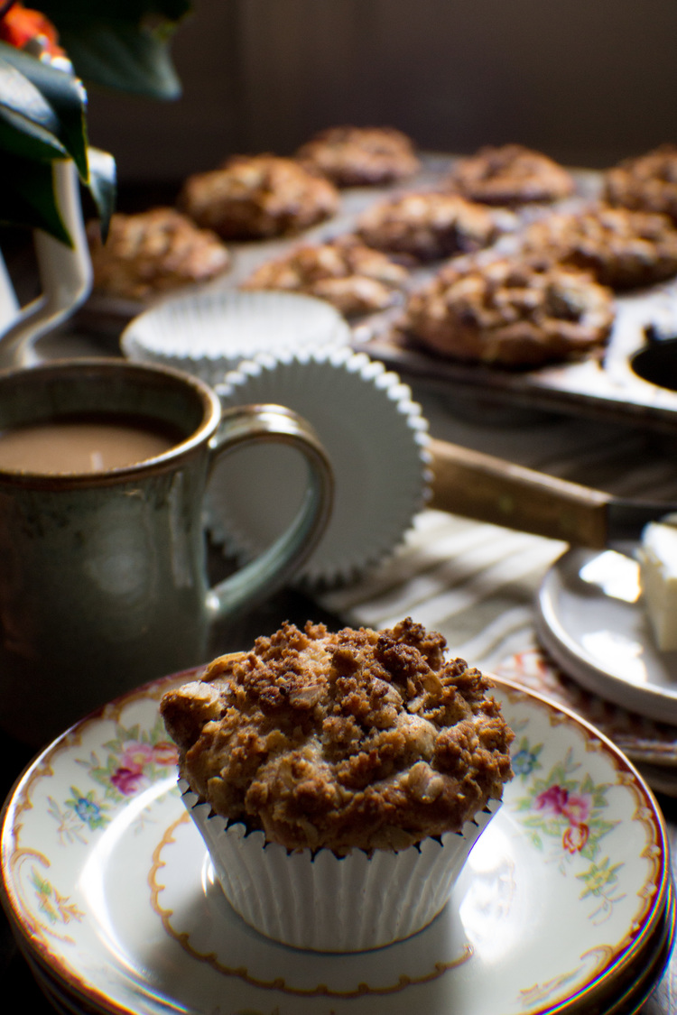 Black Cherry Almond Muffins with Cinnamon Streusel Topping