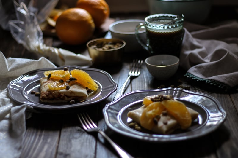 Stuffed Crepes with Orange & Cardamom Caramel Sauce {Pedantic Foodie}