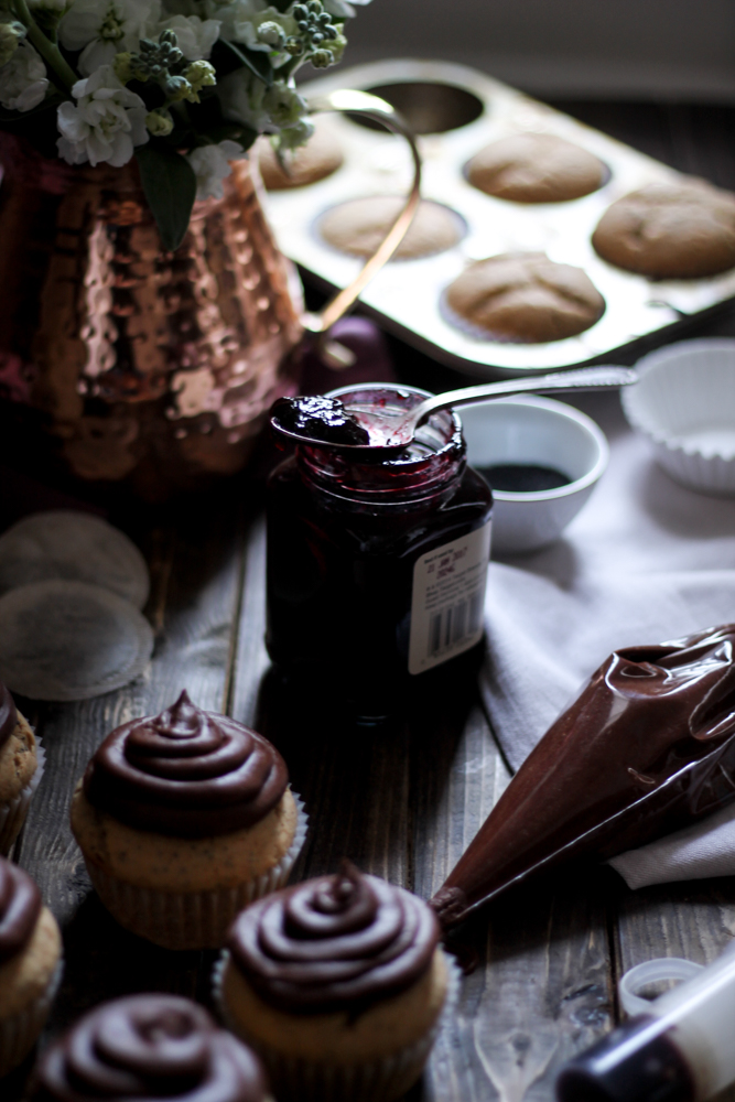 Earl Grey Poppy Seed Cupcakes with Blackberry Jam & Rich Chocolate Buttercream {Pedantic Foodie}