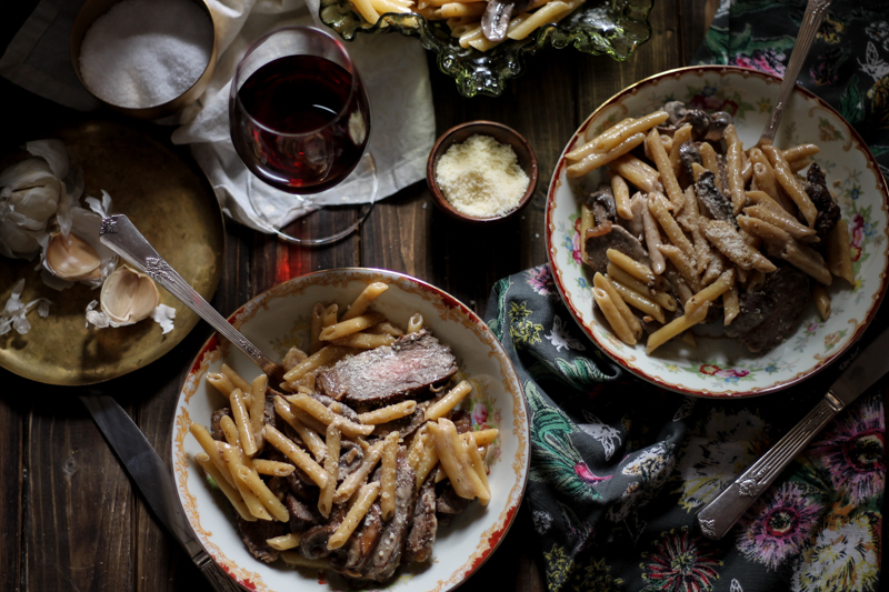 Pennette with Mushroom Cream Sauce and New York Strip {Pedantic Foodie}