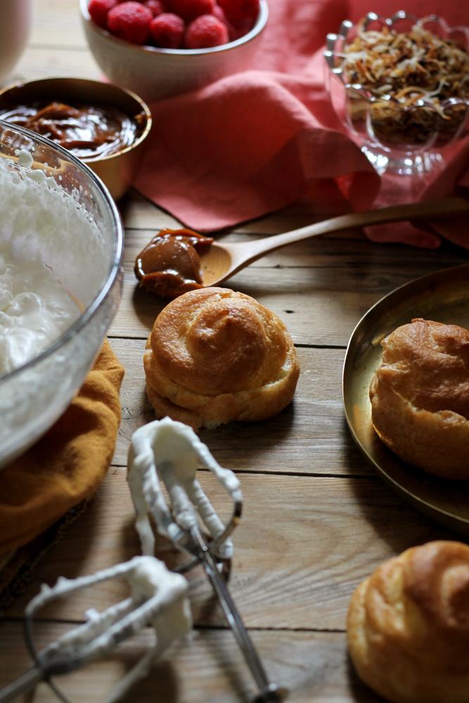 Dulce De Leche Coconut Cream Puffs with Raspberry Sauce {Pedantic Foodie}