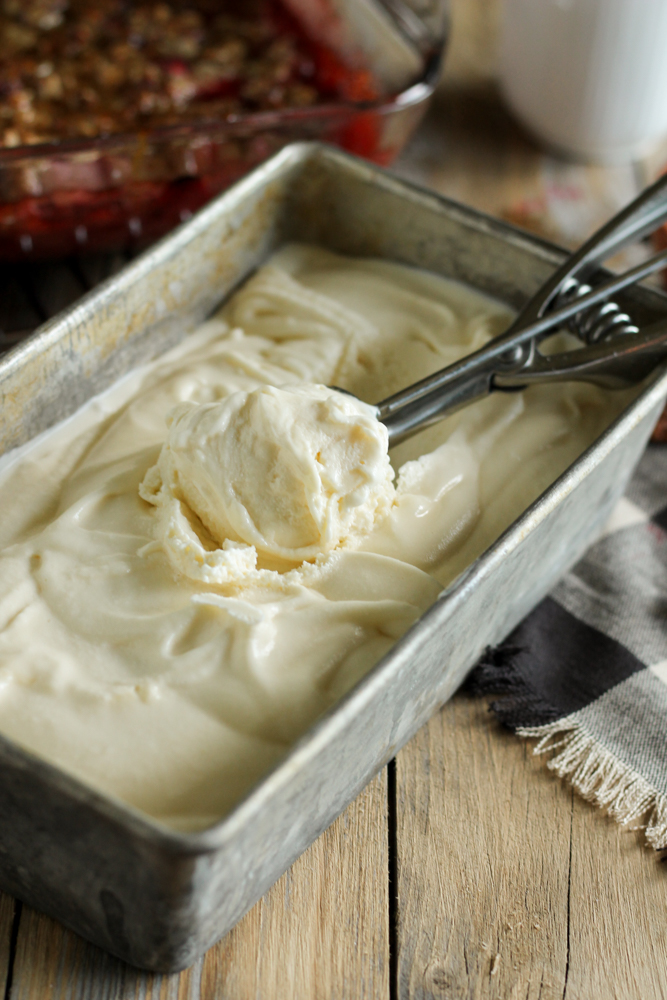 Strawberry Crisp with Buttermilk Cream Cheese Ice Cream {Pedantic Foodie}