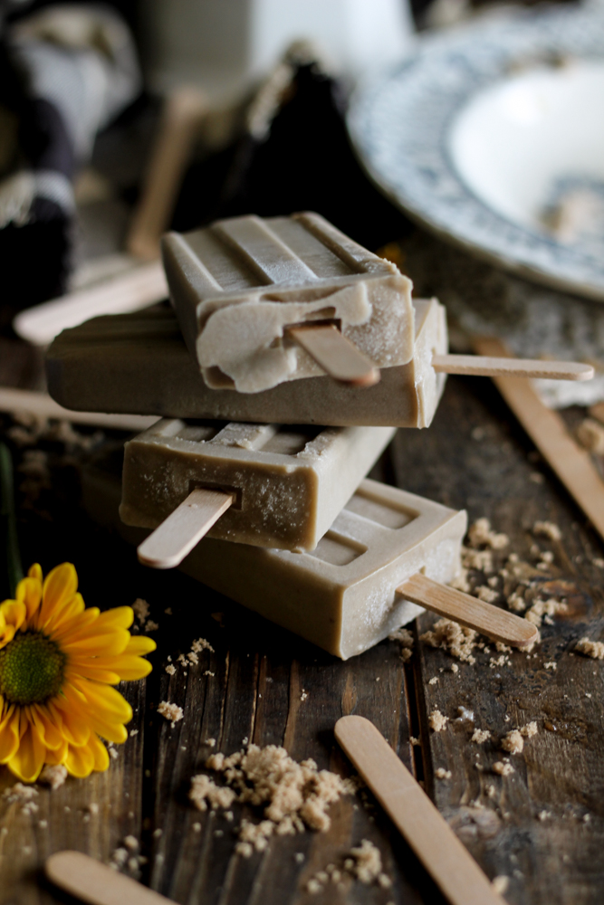 Roasted Banana & Butterscotch Pudding Pops {Pedantic Foodie}