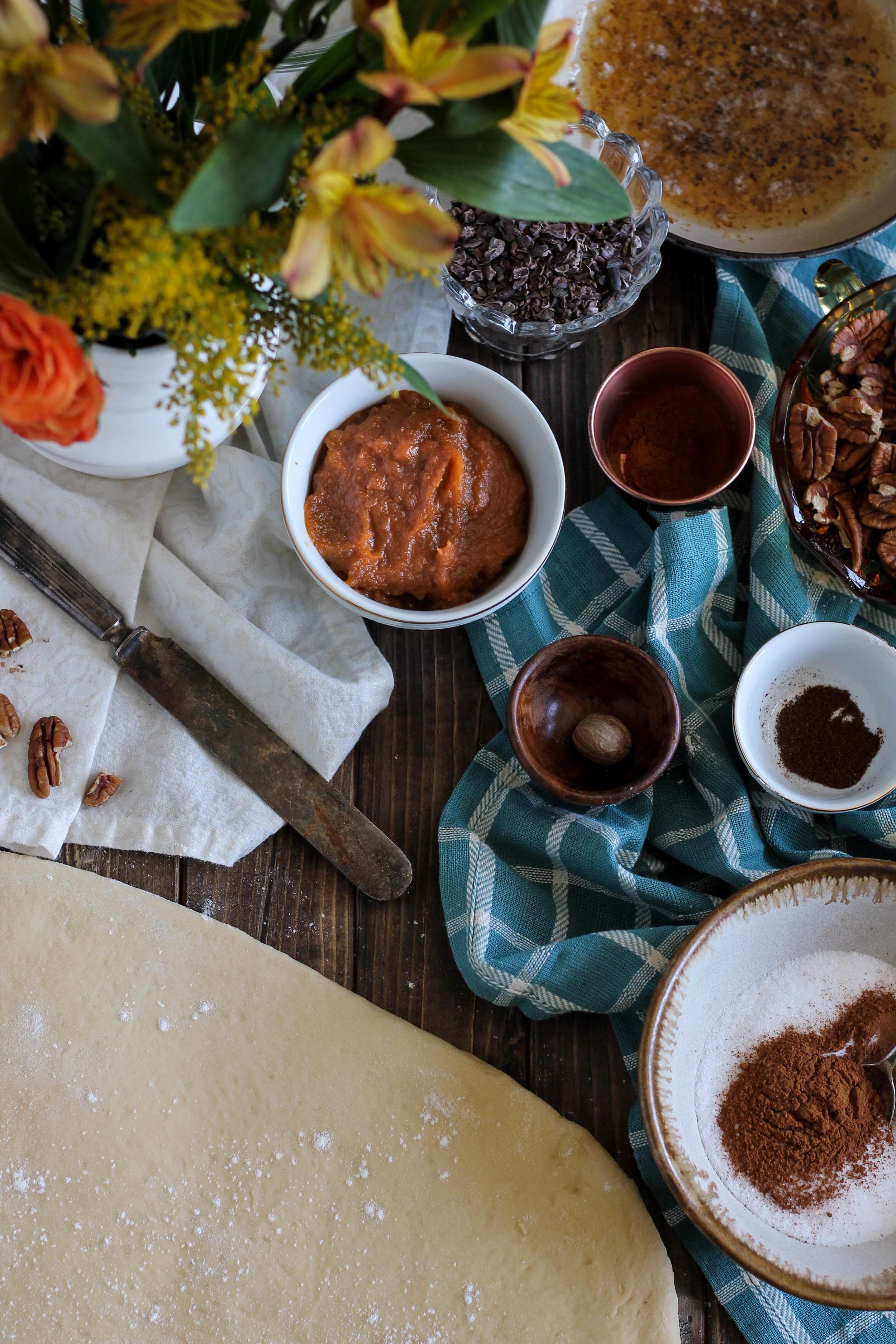 Pumpkin Pecan Cinnamon Rolls with Brown Butter Cream Cheese Frosting {Pedantic Foodie}