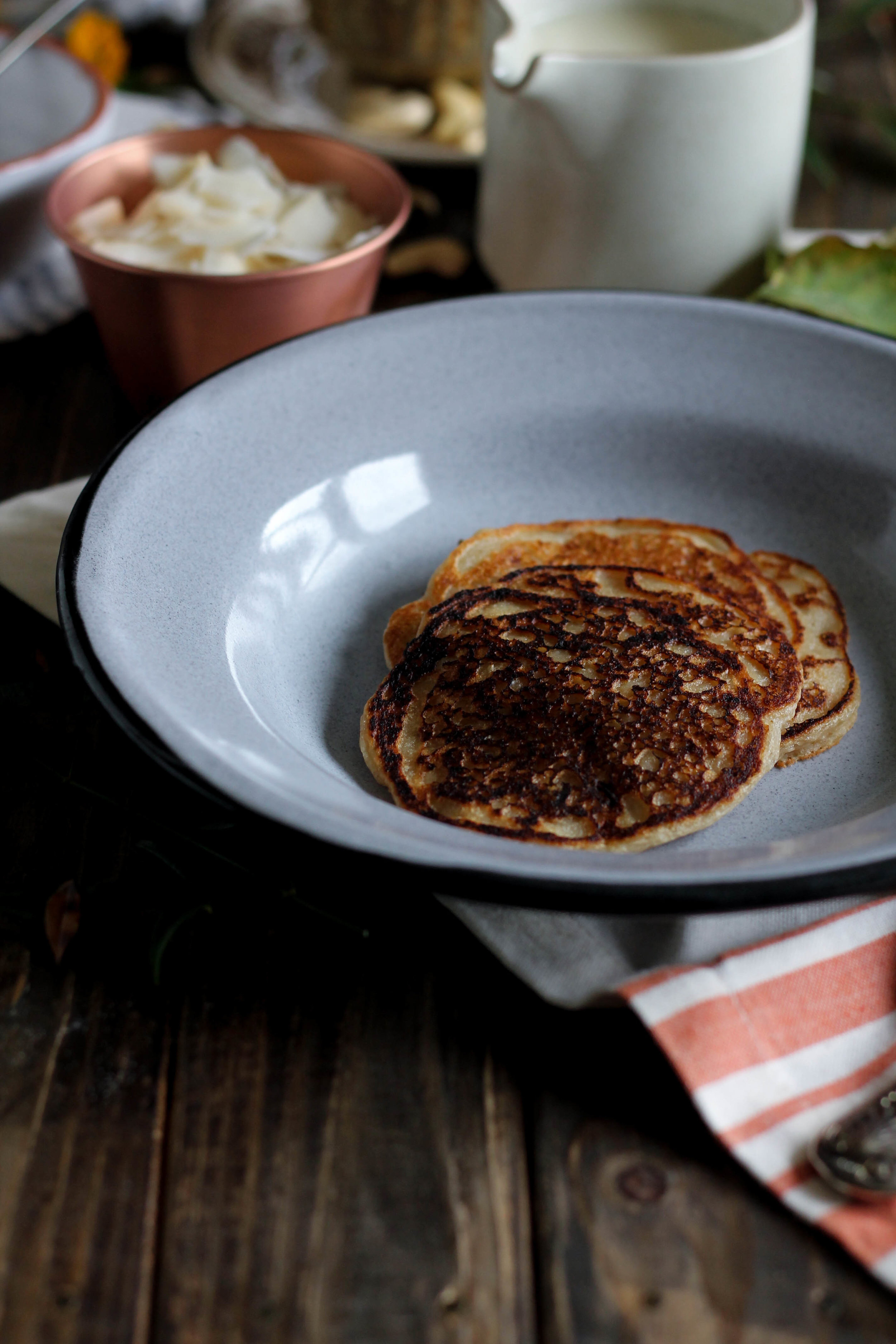Vegan Banana Pancakes with Cocoa Cashew Butter {Pedantic Foodie}