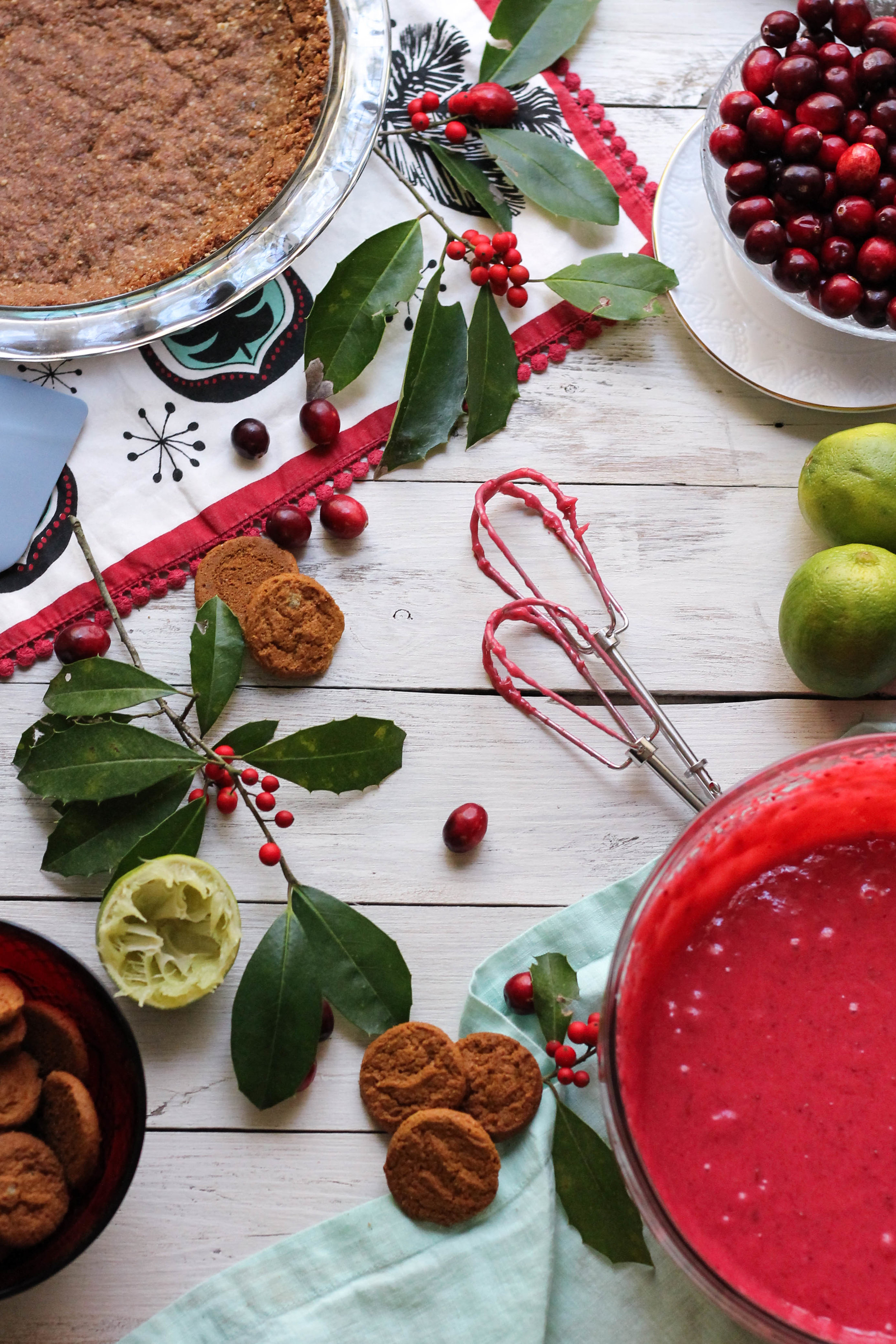 Cranberry Lime Pie with Gingersnap & Pecan Crust {Pedantic Foodie}