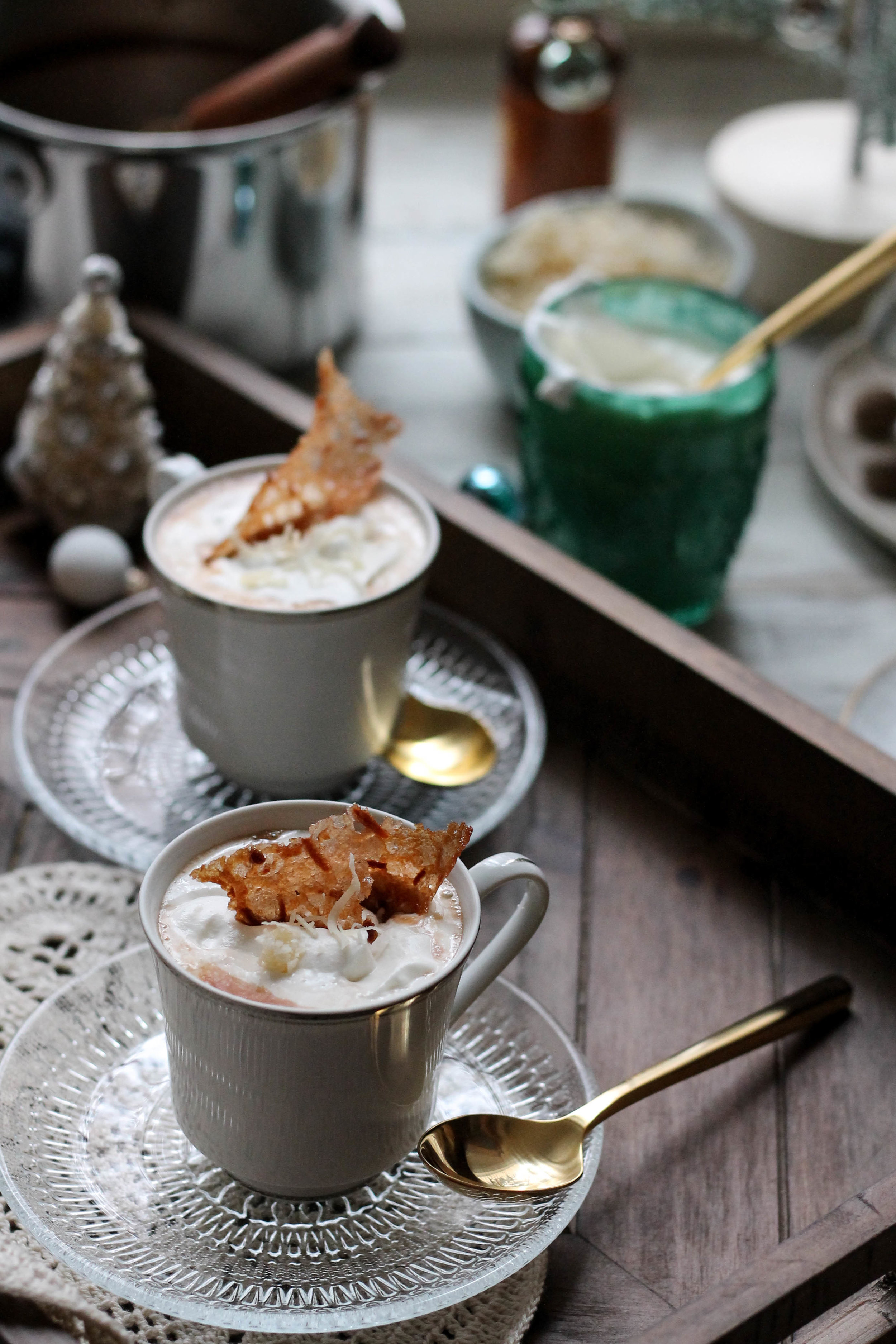 Coconut Cream Hot Cocoa with Coconut Tuiles {Pedantic Foodie}