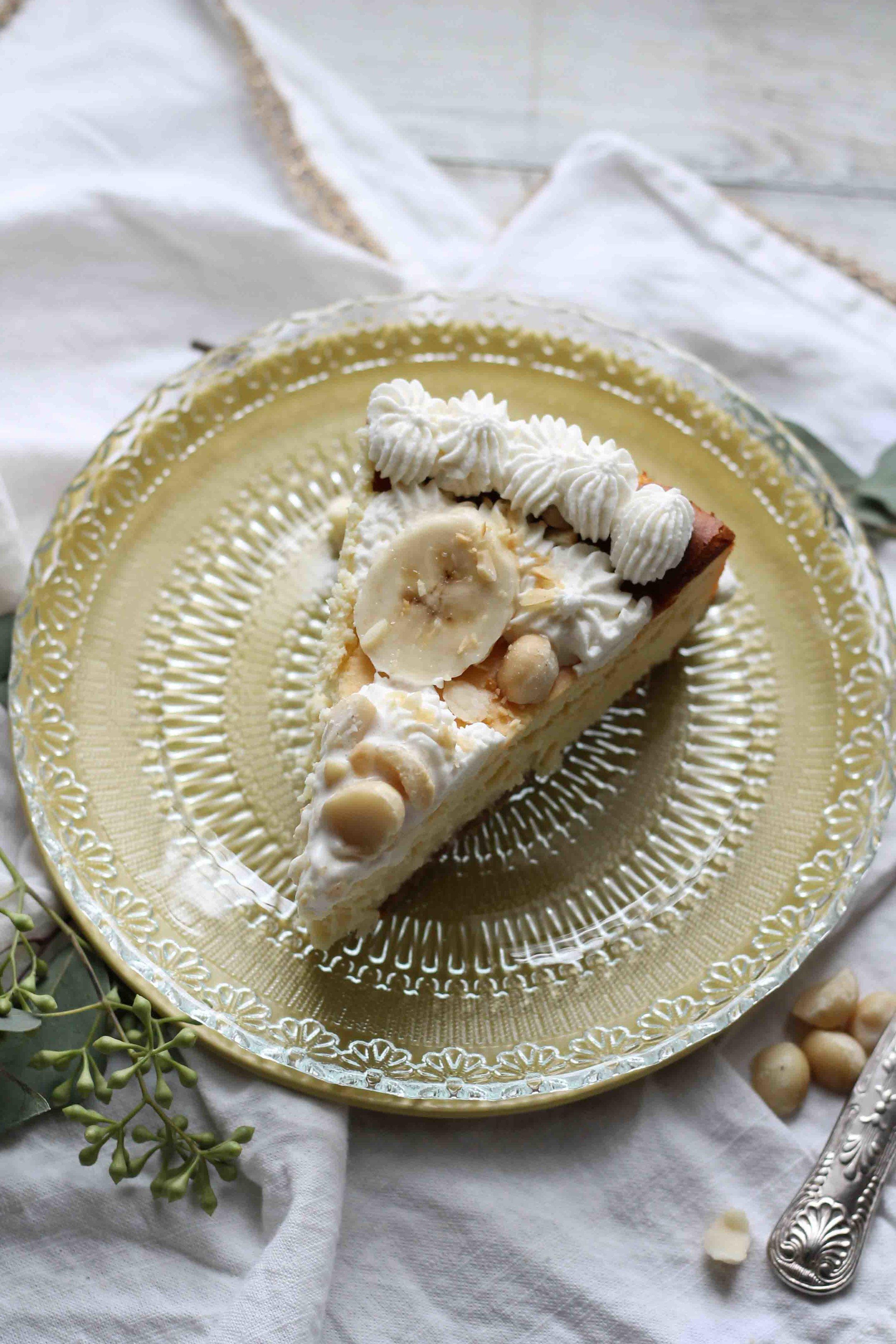 White Chocolate Cheesecake with Banana & Macadamia Nuts {Pedantic Foodie}